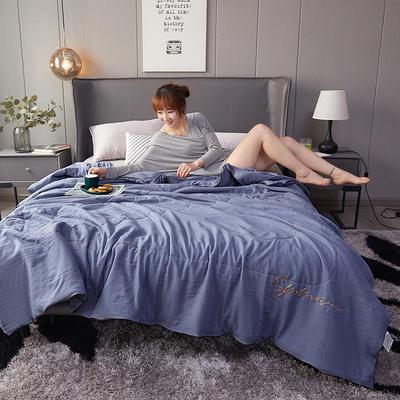 2020新款水洗棉绣花夏被 110x150cm 天蓝