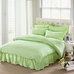 爱妮玖玖 套件17 全棉纯色段条夹棉床罩/床裙四件套12 1.2米床标准四件套 浅绿