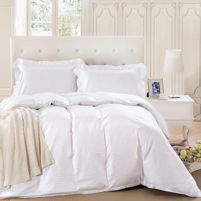 爱妮玖玖套件16 全棉纯色缎条单层床罩四件套12 2.0m(6.6英尺)床 白色