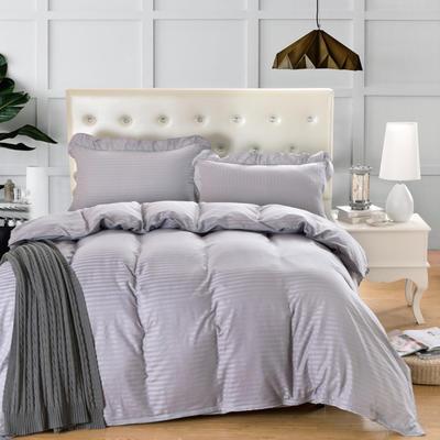 爱妮玖玖套件16 全棉纯色缎条单层床罩四件套12 2.0m(6.6英尺)床 灰色