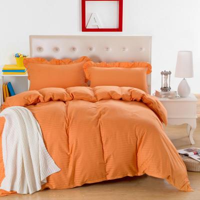 爱妮玖玖套件16 全棉纯色缎条单层床罩四件套12 2.0m(6.6英尺)床 橘黄