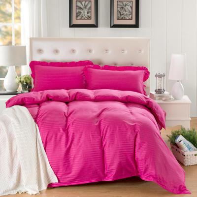 爱妮玖玖套件16 全棉纯色缎条单层床罩四件套12 2.0m(6.6英尺)床 玫红