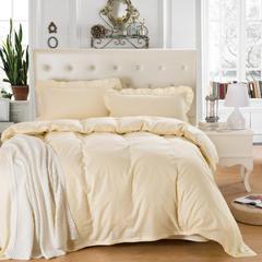 爱妮玖玖套件16 纯色缎条单层床罩四件套12 1.2米床标准四件套 米黄