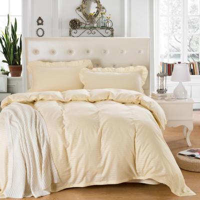 爱妮玖玖套件16 全棉纯色缎条单层床罩四件套12 2.0m(6.6英尺)床 米黄