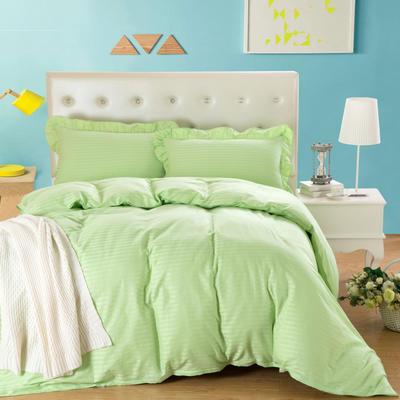 爱妮玖玖套件16 全棉纯色缎条单层床罩四件套12 2.0m(6.6英尺)床 浅绿