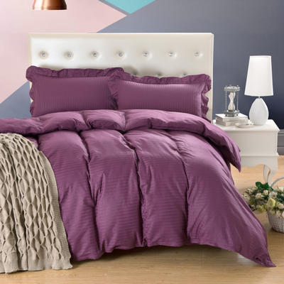 爱妮玖玖套件16 全棉纯色缎条单层床罩四件套12 2.0m(6.6英尺)床 深紫
