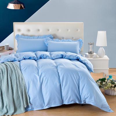 爱妮玖玖套件16 全棉纯色缎条单层床罩四件套12 2.0m(6.6英尺)床 天蓝