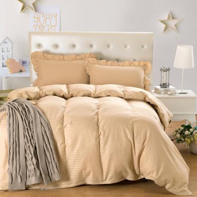 爱妮玖玖套件16 全棉纯色缎条单层床罩四件套12 2.0m(6.6英尺)床 驼色