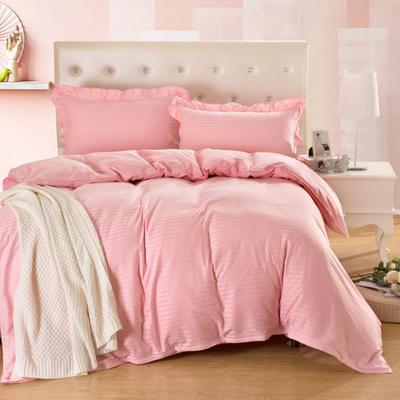 爱妮玖玖套件16 全棉纯色缎条单层床罩四件套12 2.0m(6.6英尺)床 玉色