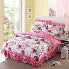 爱妮玖玖 套件12 韩版双层花边床罩/床裙四件套19 1.5米床标准四件套 芬芳绽放