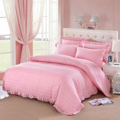 爱妮玖玖 套件15 全棉全套夹棉纯色缎条床裙四件套12 1.5m(5英尺)床 玉色