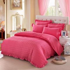 爱妮玖玖 套件15 纯色缎条全套夹棉床罩/床裙四件套12 1.8米床中号四件套 砖红