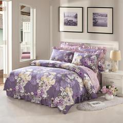 爱妮玖玖 套件2 全棉印花夹棉床罩/床裙四件套67 1.2米床标准四件套 玛奇朵紫