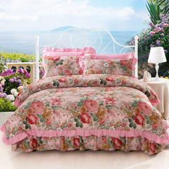 爱妮玖玖 套件13 双拼固定式床单四件套(又名艳装素裹)8 1.5*2.0米床标准四件套 艳装素裹之粉色
