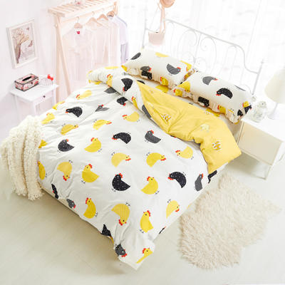 套件3-4 全棉春天系列夹棉床裙配花边被套四件套 1.2床 格格吉祥