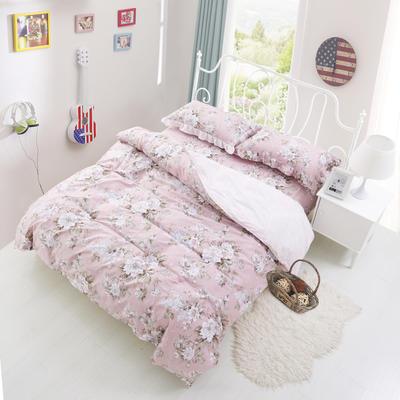 套件3-4 全棉春天系列夹棉床裙配花边被套四件套 1.2床 花颜绽放