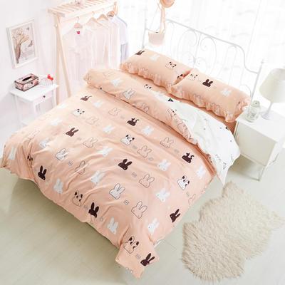套件3-4 全棉春天系列夹棉床裙配花边被套四件套 1.2床 两只耳朵