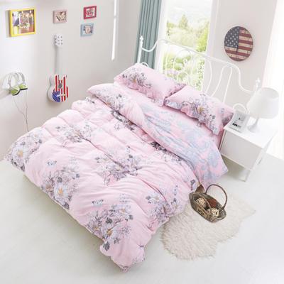 套件3-4 全棉春天系列夹棉床裙配花边被套四件套 1.2床 罗兰季节