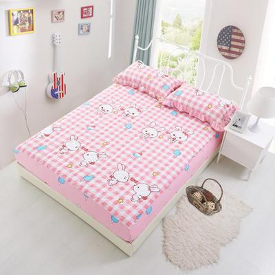 套件3-4 全棉春天系列夹棉床裙配花边被套四件套 1.2床 小兔乖乖
