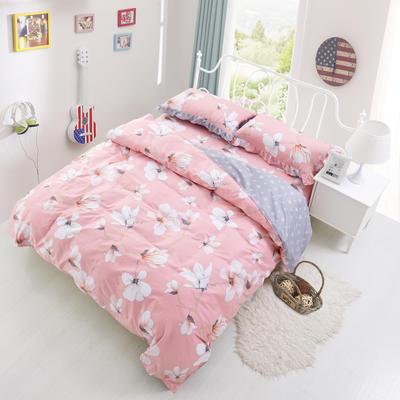 套件3-4 全棉春天系列夹棉床裙配花边被套四件套 1.2床 赞那度