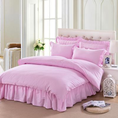 单品被套类4     全棉纯色 缎条双针被套 160*210cm 粉红