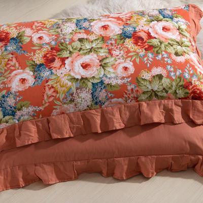 单品枕套类11  全棉 轻奢艳装素裹花边枕套 45cm*74cm 淡橘