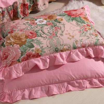 单品枕套类11  全棉 轻奢艳装素裹花边枕套 45cm*74cm 粉红