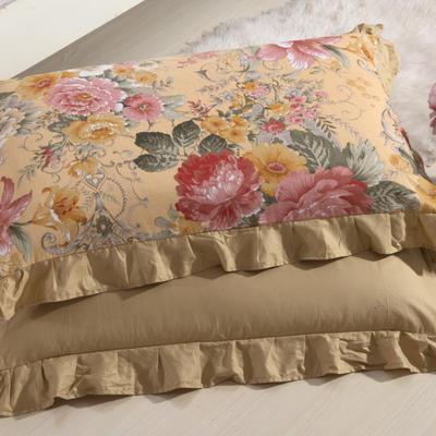 单品枕套类11  全棉 轻奢艳装素裹花边枕套 45cm*74cm 驼色