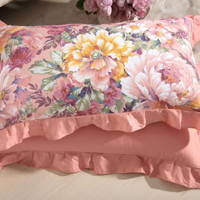 单品枕套类11  全棉 轻奢艳装素裹花边枕套 45cm*74cm 艳装素裹玉色