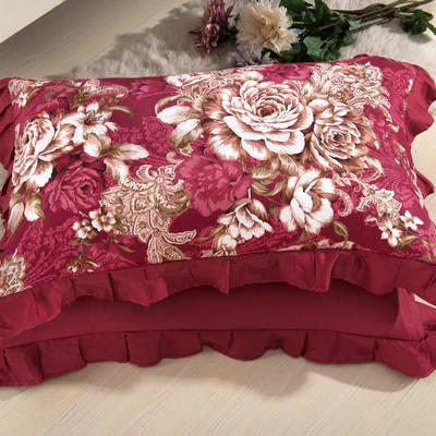 单品枕套类11  全棉 轻奢艳装素裹花边枕套 45cm*74cm 艳装素裹枣红