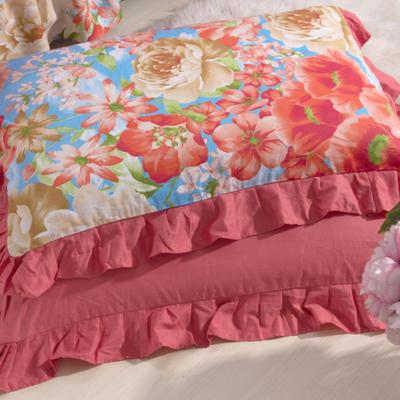 单品枕套类11  全棉 轻奢艳装素裹花边枕套 45cm*74cm 砖红