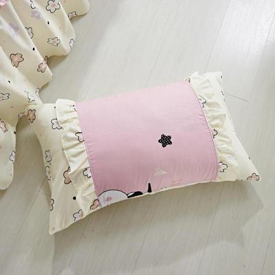 单品枕套类1  全棉 韩式单层枕套 45cm*74cm 迷你粉兔