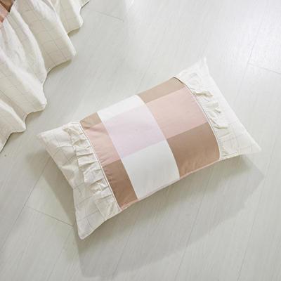 单品枕套类1  全棉 韩式单层枕套 45cm*74cm 宜家格咖