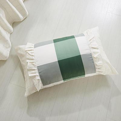 单品枕套类1  全棉 韩式单层枕套 45cm*74cm 宜家格绿