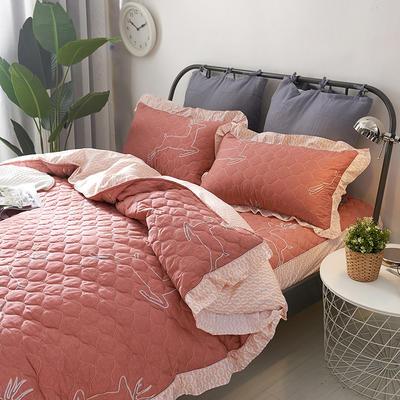 爱妮玖玖 套件14-1 全棉全套夹棉普通款床罩床笠四件套42 床笠1.2米 欢乐鹿红