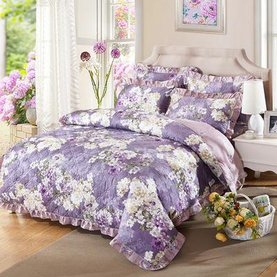 爱妮玖玖 套件14-1 全棉全套夹棉普通款床罩床笠四件套42 床笠1.2米 玛奇朵紫