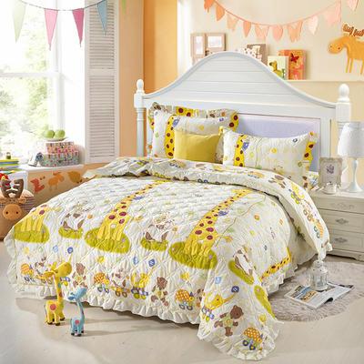 爱妮玖玖 套件14-1 全棉全套夹棉普通款床罩床笠四件套42 床笠1.2米 长颈鹿