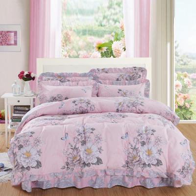 套件10  全棉夹棉床单(床盖)四件套 1.5床 罗兰季节