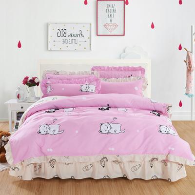 套件10  全棉夹棉床单(床盖)四件套 1.5床 瞄趣横生