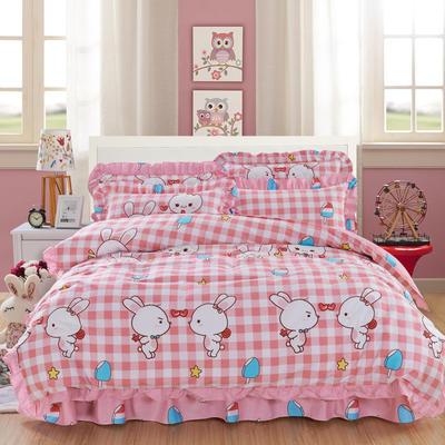套件10  全棉夹棉床单(床盖)四件套 1.5床 小兔乖乖