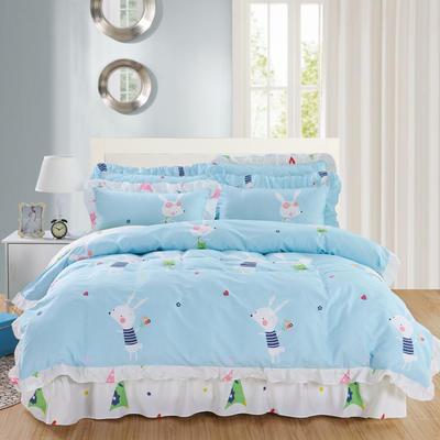 套件10  全棉夹棉床单(床盖)四件套 1.5床 一见倾心