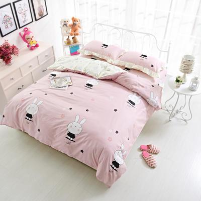 套件19 全棉小清新多规格床单四件套 小四件套1.0-1.35床 迷你粉兔