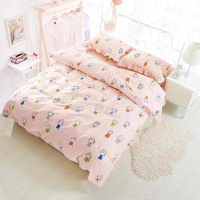 套件19 全棉小清新多规格床单四件套46 小四件套1.0-1.35床 小人物