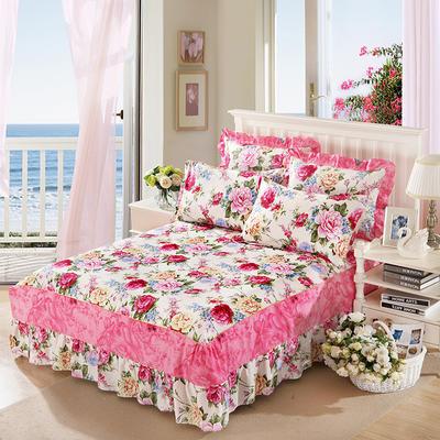 单品床罩类11 全棉二合一床笠式床罩/床裙 150*200*45 芬芳绽放
