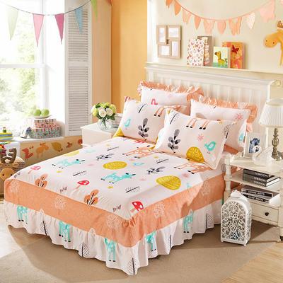 单品床罩类11 全棉二合一床笠式床罩/床裙24个 150*200*45 童话小鹿