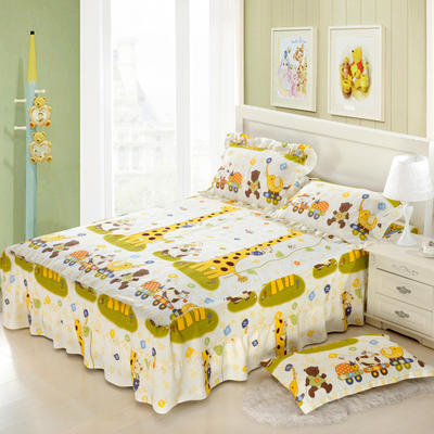 单品床罩类11 全棉二合一床笠式床罩/床裙 150*200*45 长颈鹿