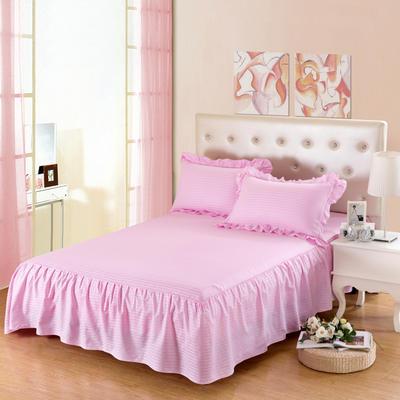 单品床罩类14 全棉缎条单层床罩/床裙12懒 120*200*45 粉红