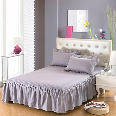单品床罩类14 全棉缎条单层床罩/床裙12懒 120*200*45 灰色