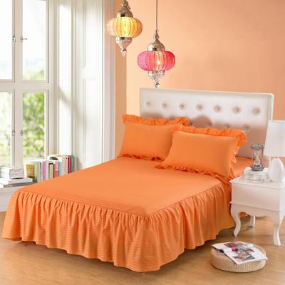 单品床罩类14 全棉缎条单层床罩/床裙12懒 120*200*45 橘黄