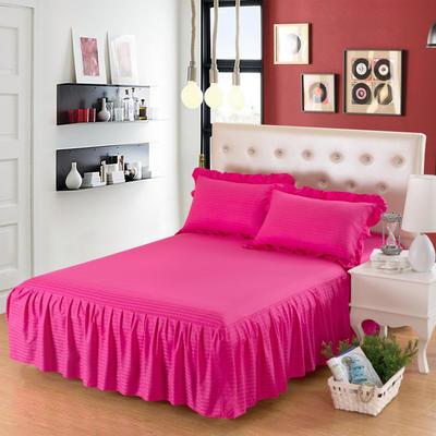 单品床罩类14 全棉缎条单层床罩/床裙12懒 120*200*45 玫红
